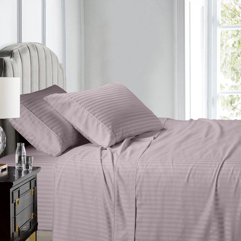 Top Split (Flex) King Sheet Set Luxury 608 Thread Count Damask Stripe-Egyptian Linens-LILAC-Egyptian Linens