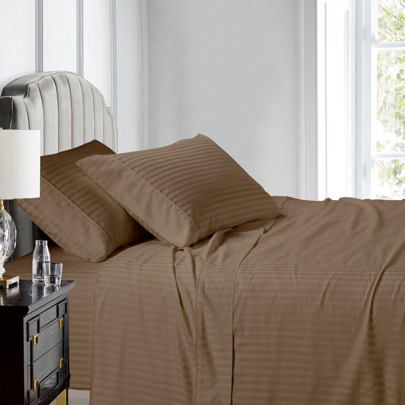Top Split (Flex) King Sheet Set Luxury 608 Thread Count Damask Stripe-Egyptian Linens-TAUPE-Egyptian Linens