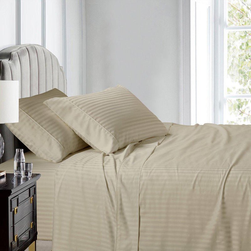 Top Split (Flex) King Sheet Set Luxury 608 Thread Count Damask Stripe-Egyptian Linens-LINEN-Egyptian Linens