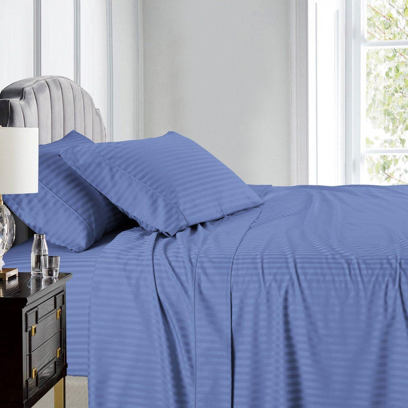 Top Split (Flex) King Sheet Set Luxury 608 Thread Count Damask Stripe-Egyptian Linens-PERIWINKLE-Egyptian Linens