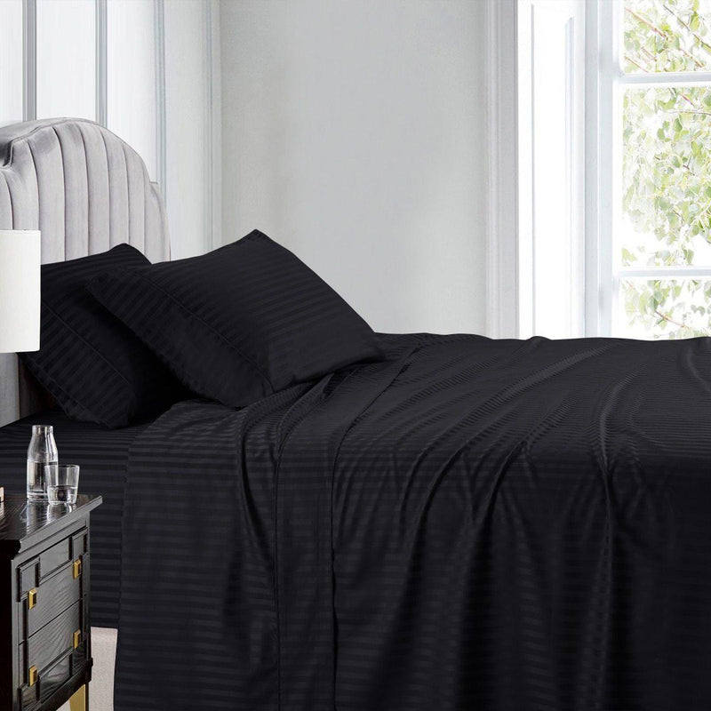 Top Split (Flex) King Sheet Set Luxury 608 Thread Count Damask Stripe-Egyptian Linens-BLACK-Egyptian Linens