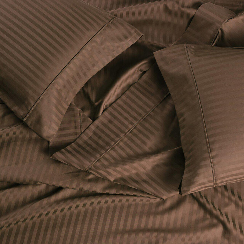 Split California King Sheet Set - Striped 650 Thread Count-Egyptian Linens-TAUPE-Egyptian Linens