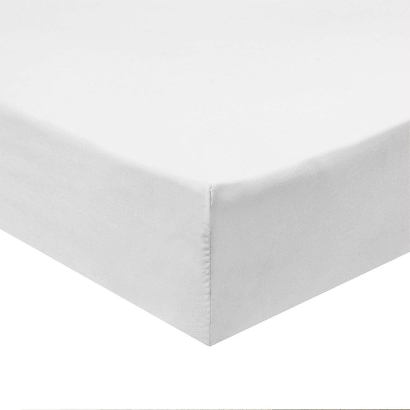 Top Split Flex King Fitted Sheet Only - Solid 340 Thread Count-Royal Tradition-White-Egyptian Linens
