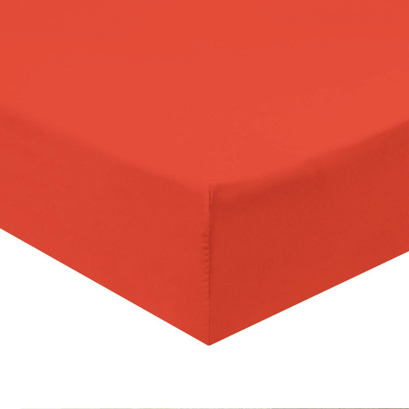 Flex Top California King Fitted Sheet Only -Solid 340 Thread Count-Royal Tradition-Coral-Egyptian Linens
