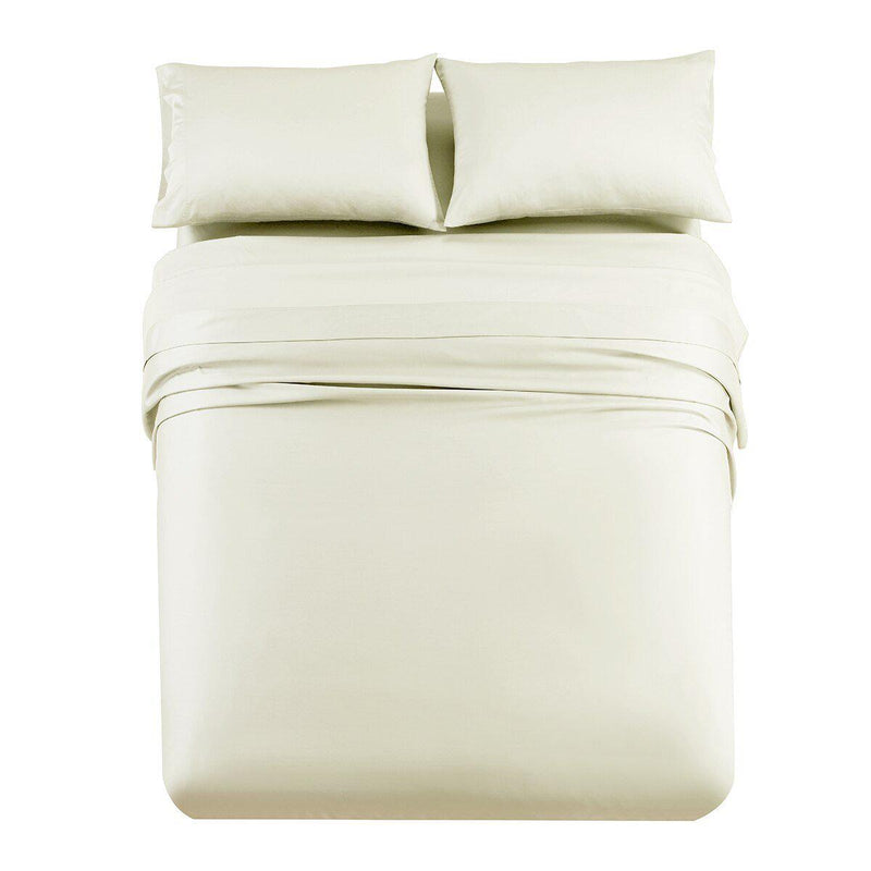 Luxury & Heavy 1000 Thread Count Solid Sheet Set-Royal Tradition-Queen-Ivory-Egyptian Linens
