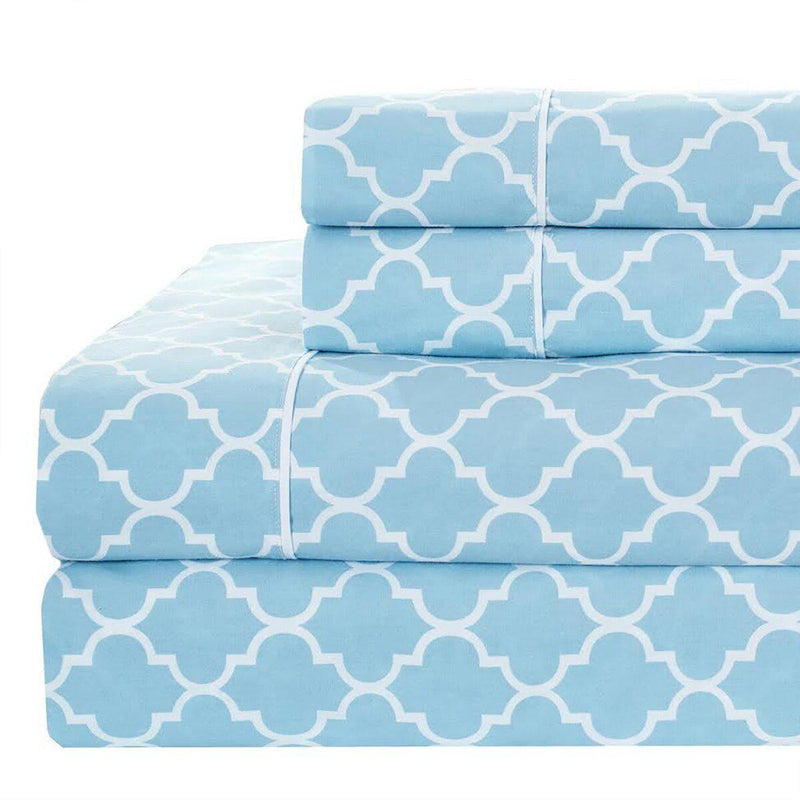 Meridian Percale Sheet Set-Royal Tradition-Twin XL-Blue & White-Egyptian Linens