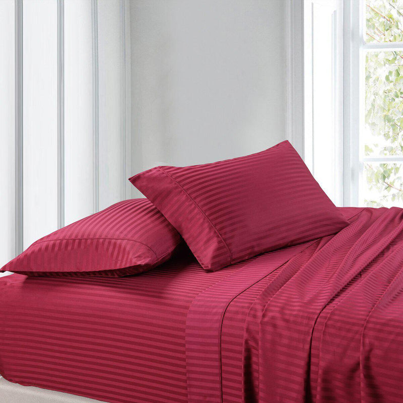 Sheet Set - Striped 300 Thread Count-Royal Tradition-Twin XL-Burgundy-Egyptian Linens