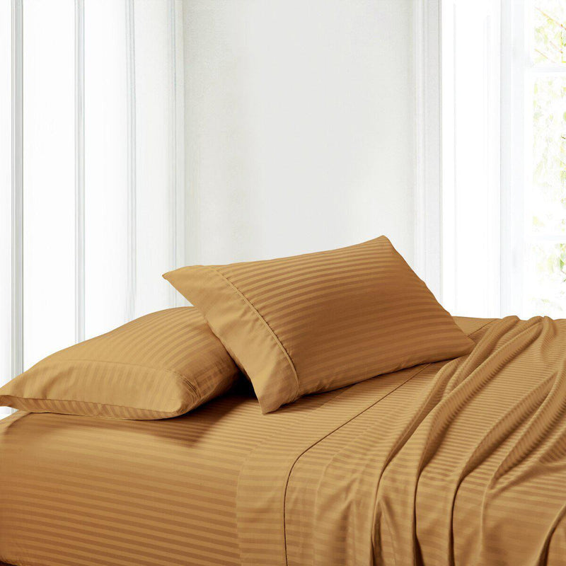 Sheet Set - Striped 300 Thread Count-Royal Tradition-Twin XL-Bronze-Egyptian Linens