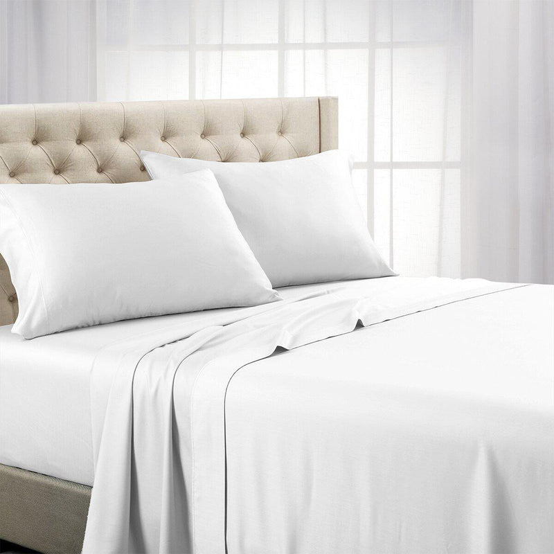 Split Top (Split Head) King Sheets 1000 Thread Count 100% Cotton Solid Sheet Sets-Royal Tradition-White-Egyptian Linens