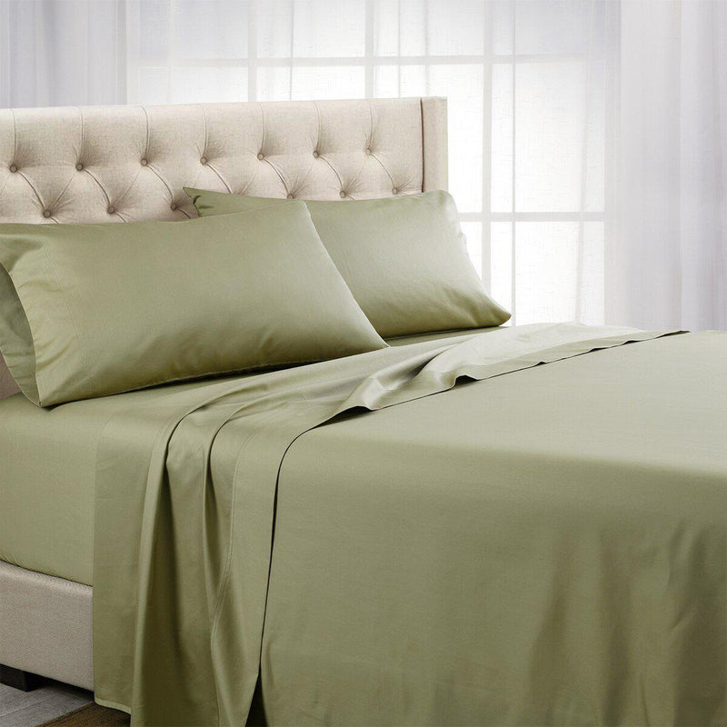 Split Top (Split Head) King Sheets 1000 Thread Count 100% Cotton Solid Sheet Sets-Royal Tradition-Sage-Egyptian Linens