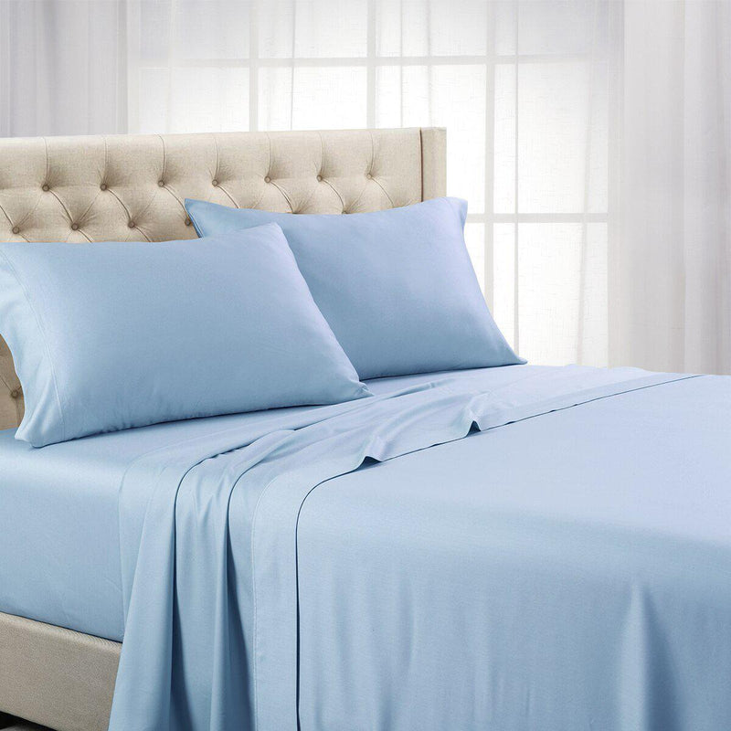 Split Top (Split Head) King Sheets 1000 Thread Count 100% Cotton Solid Sheet Sets-Royal Tradition-Blue-Egyptian Linens