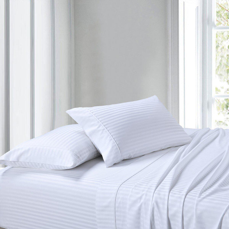 Attached Waterbed Sheet Set Stripe 300 Thread Count-Royal Tradition-Super Single Waterbed-White-Egyptian Linens