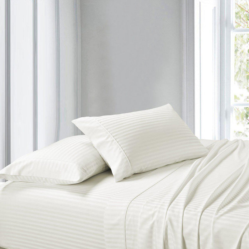 Attached Waterbed Sheet Set Stripe 300 Thread Count-Royal Tradition-Super Single Waterbed-Ivory-Egyptian Linens