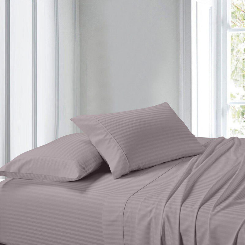 Attached Waterbed Sheet Set Stripe 300 Thread Count-Royal Tradition-Queen Waterbed-Lilac-Egyptian Linens