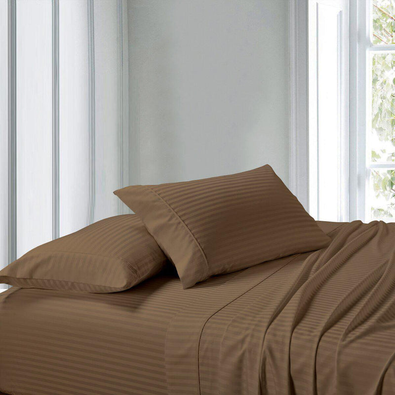 Attached Waterbed Sheet Set Stripe 300 Thread Count-Royal Tradition-Super Single Waterbed-Taupe-Egyptian Linens