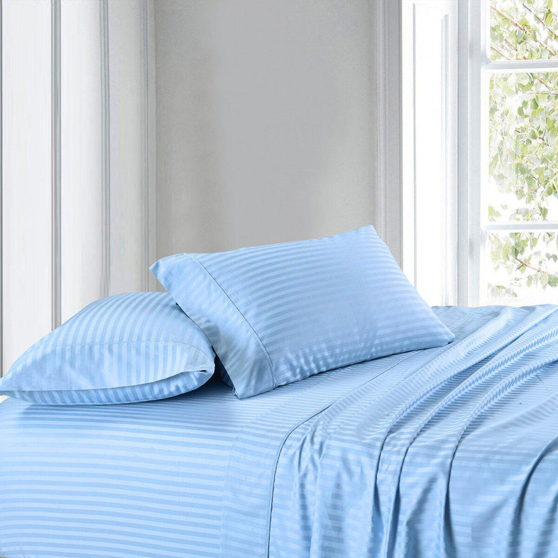 Attached Waterbed Sheet Set Stripe 300 Thread Count-Royal Tradition-Queen Waterbed-Blue-Egyptian Linens