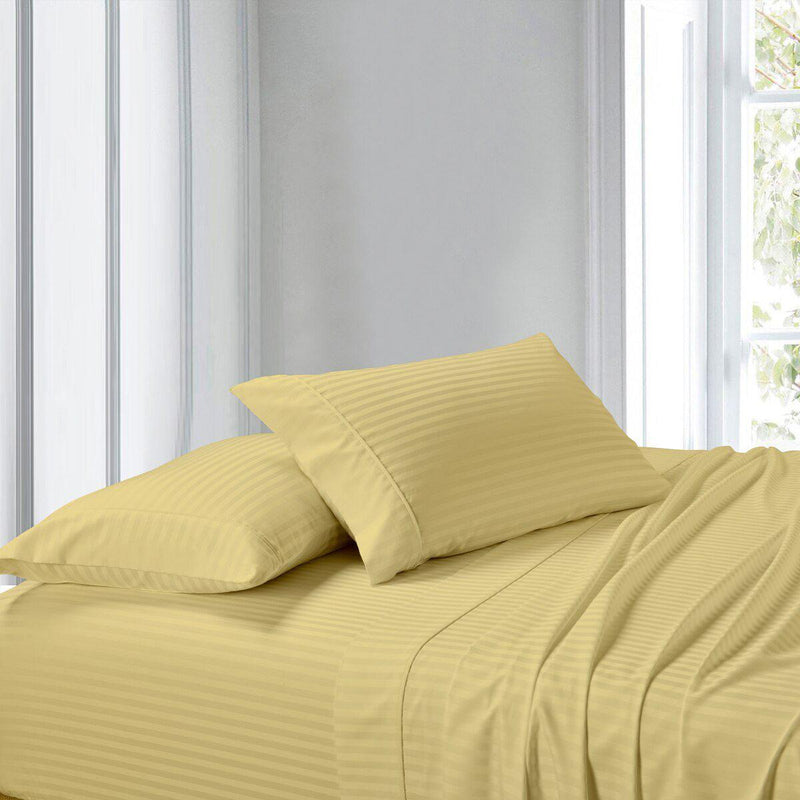 Attached Waterbed Sheet Set Stripe 300 Thread Count-Royal Tradition-Queen Waterbed-Gold-Egyptian Linens