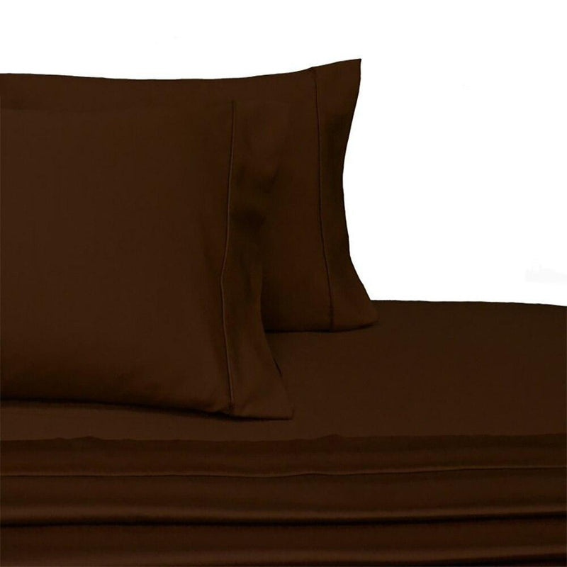 Attached Waterbed Sheet Set Solid 450 Thread Count-Royal Tradition-Super Single Waterbed-Chocolate-Egyptian Linens