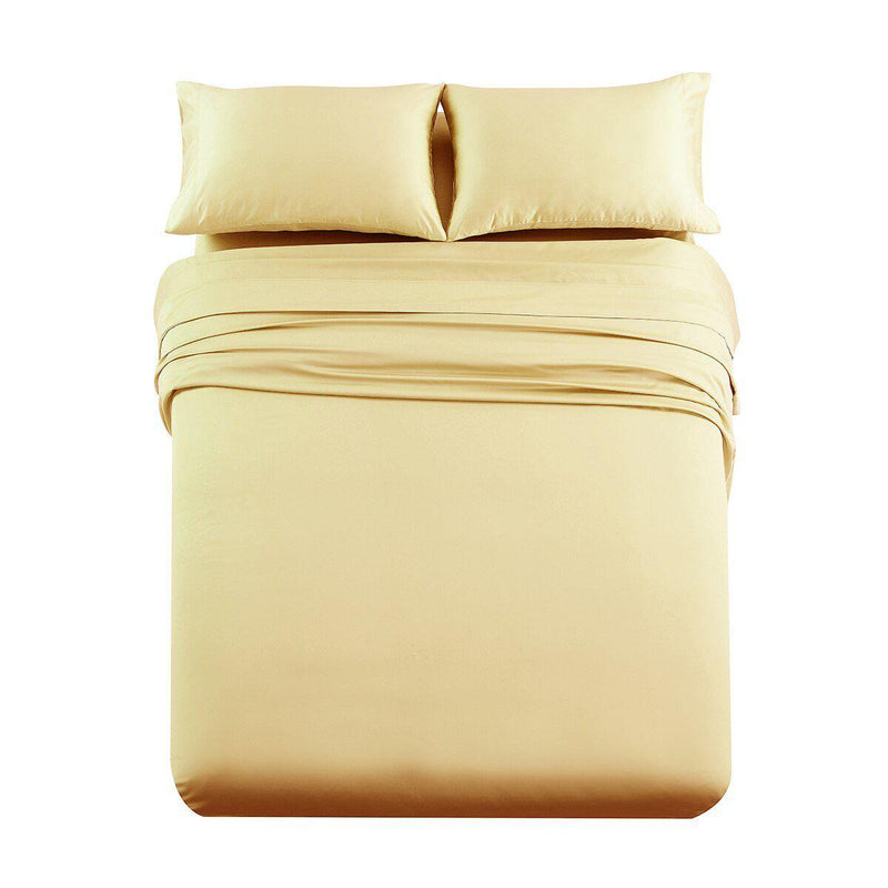 Premium Olympic Queen Sheet Set - Solid 1000 Thread Count-Royal Tradition-Gold-Egyptian Linens