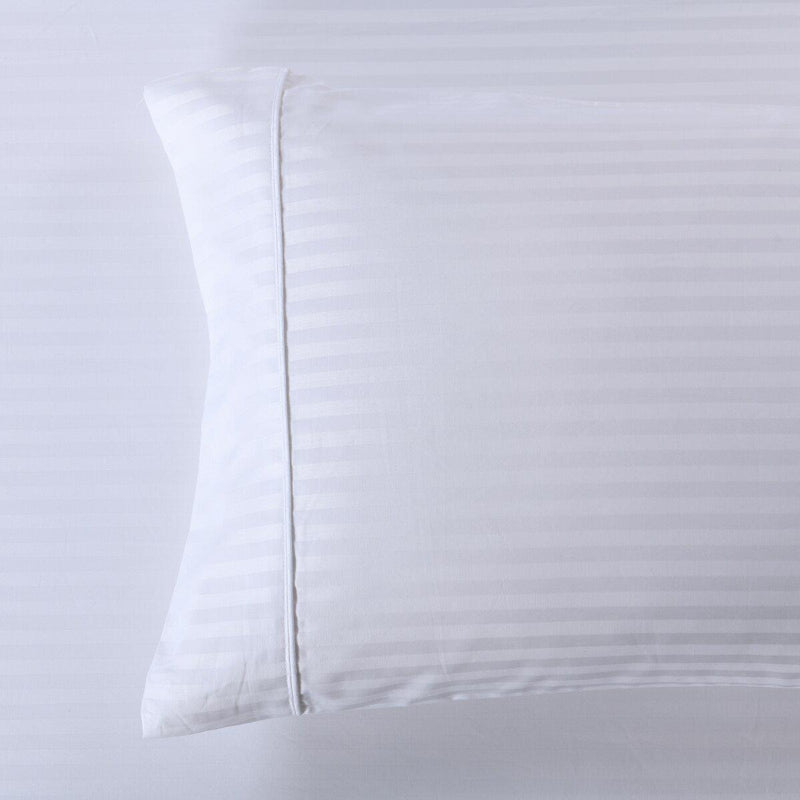 Damask Stripe 600 Thread Count Pillowcases (Pair)-Royal Tradition-King Pillowcases Pair-White-Egyptian Linens