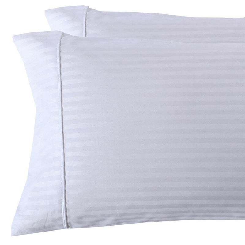 Damask Stripe 300 Thread Count Pillowcases-Royal Tradition-King Pillowcases Pair-White-Egyptian Linens