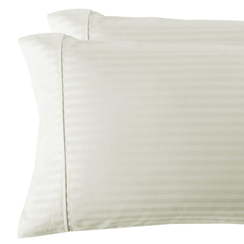 Damask Stripe 300 Thread Count Pillowcases-Royal Tradition-King Pillowcases Pair-Ivory-Egyptian Linens