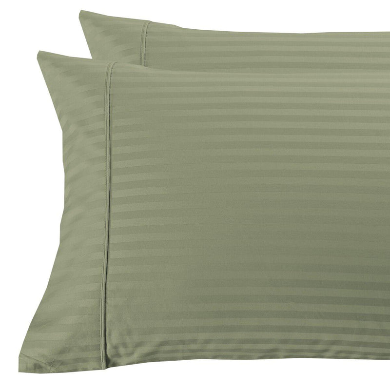 Damask Stripe 300 Thread Count Pillowcases-Royal Tradition-King Pillowcases Pair-Sage-Egyptian Linens