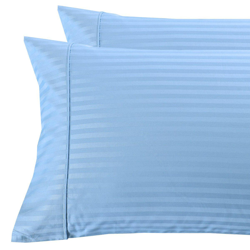 Damask Stripe 300 Thread Count Pillowcases-Royal Tradition-King Pillowcases Pair-Blue-Egyptian Linens