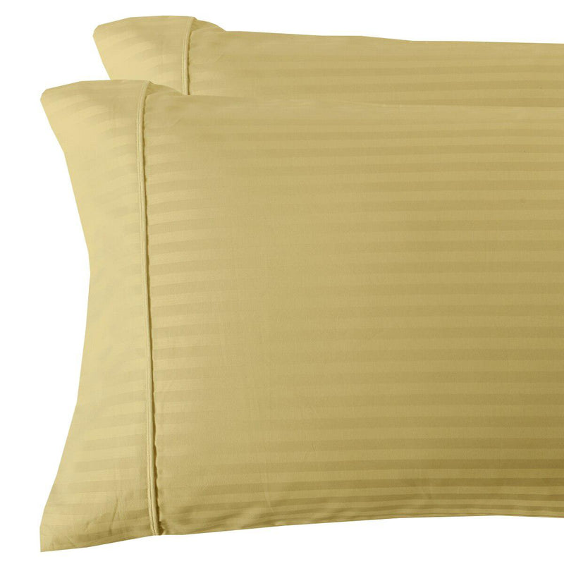Damask Stripe 300 Thread Count Pillowcases-Royal Tradition-King Pillowcases Pair-Gold-Egyptian Linens