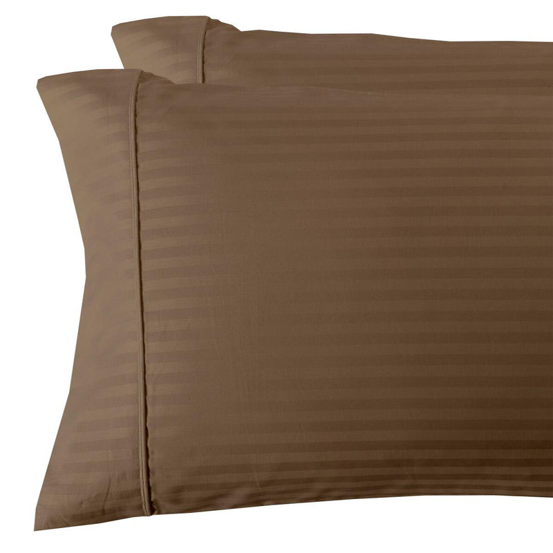 Damask Stripe 300 Thread Count Pillowcases-Royal Tradition-King Pillowcases Pair-Taupe-Egyptian Linens