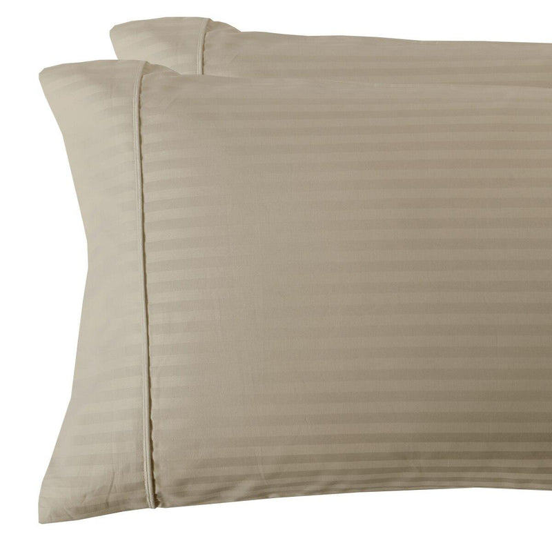 Damask Stripe 300 Thread Count Pillowcases-Royal Tradition-King Pillowcases Pair-Linen-Egyptian Linens