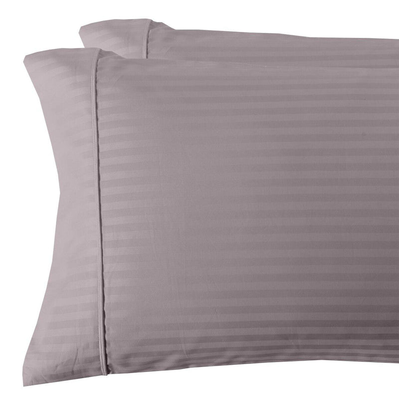 Damask Stripe 300 Thread Count Pillowcases-Royal Tradition-King Pillowcases Pair-Lilac-Egyptian Linens