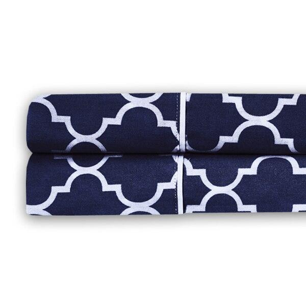 Meridian Percale Pillowcase Set (Pair)-Royal Tradition-Standard Pillowcases Pair-Navy & White-Egyptian Linens