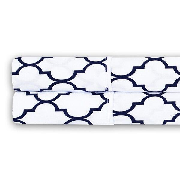 Meridian Percale Pillowcase Set (Pair)-Royal Tradition-Standard Pillowcases Pair-White & Navy-Egyptian Linens