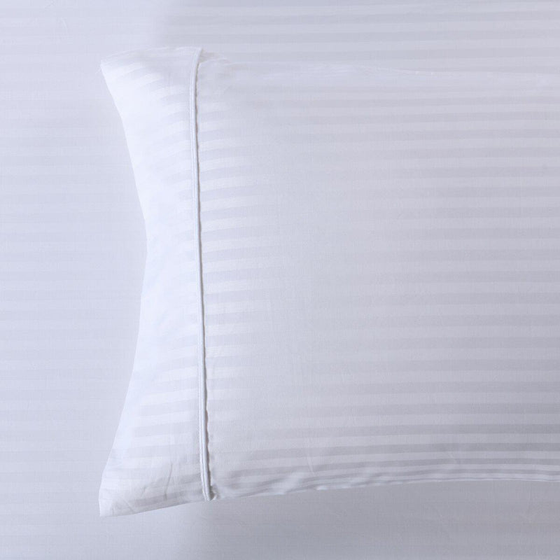 Easy Care 650 Stripe Pillowcases (Pair)-Royal Tradition-Standard Pillowcases Pair-White-Egyptian Linens