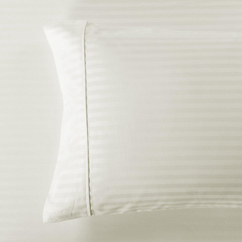 Easy Care 650 Stripe Pillowcases (Pair)-Royal Tradition-Standard Pillowcases Pair-Ivory-Egyptian Linens