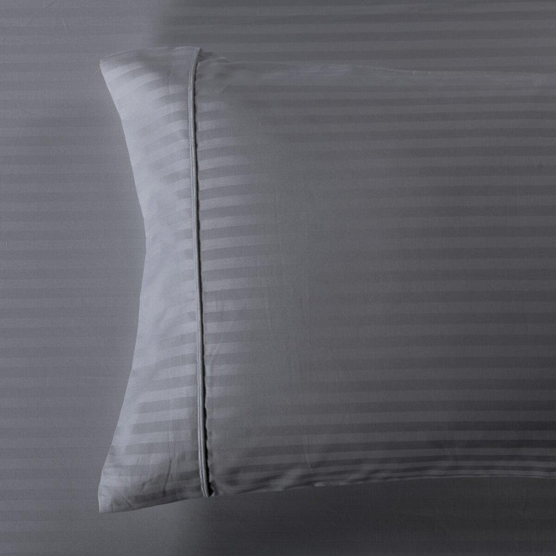 Easy Care 650 Stripe Pillowcases (Pair)-Royal Tradition-Standard Pillowcases Pair-Gray-Egyptian Linens