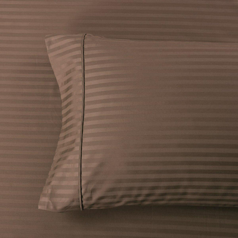 Easy Care 650 Stripe Pillowcases (Pair)-Royal Tradition-King Pillowcases Pair-Taupe-Egyptian Linens