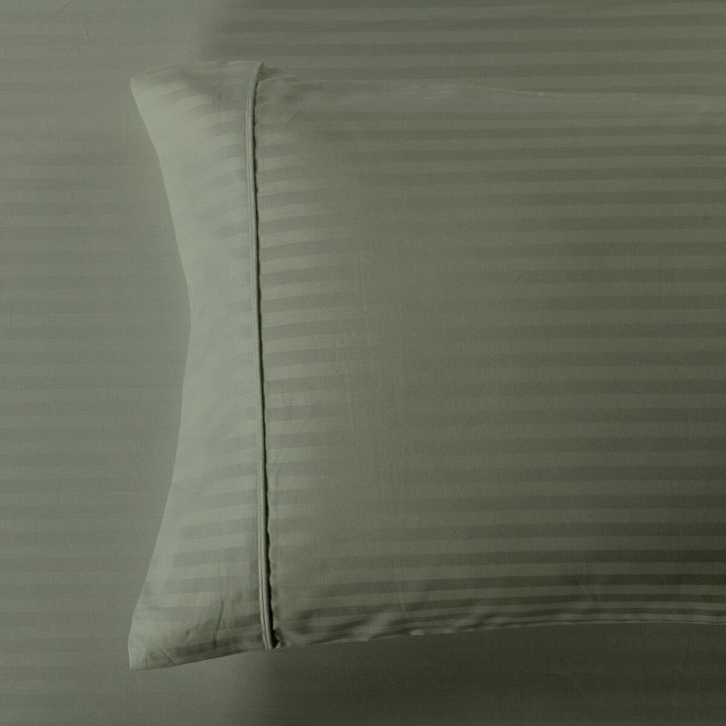Easy Care 650 Stripe Pillowcases (Pair)-Royal Tradition-King Pillowcases Pair-Sage-Egyptian Linens