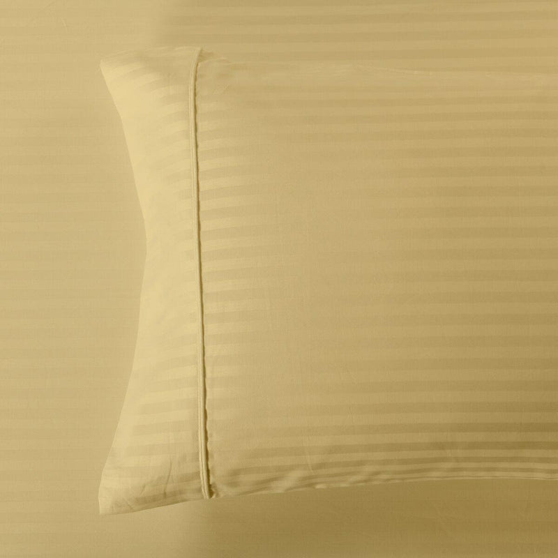 Easy Care 650 Stripe Pillowcases (Pair)-Royal Tradition-King Pillowcases Pair-Gold-Egyptian Linens