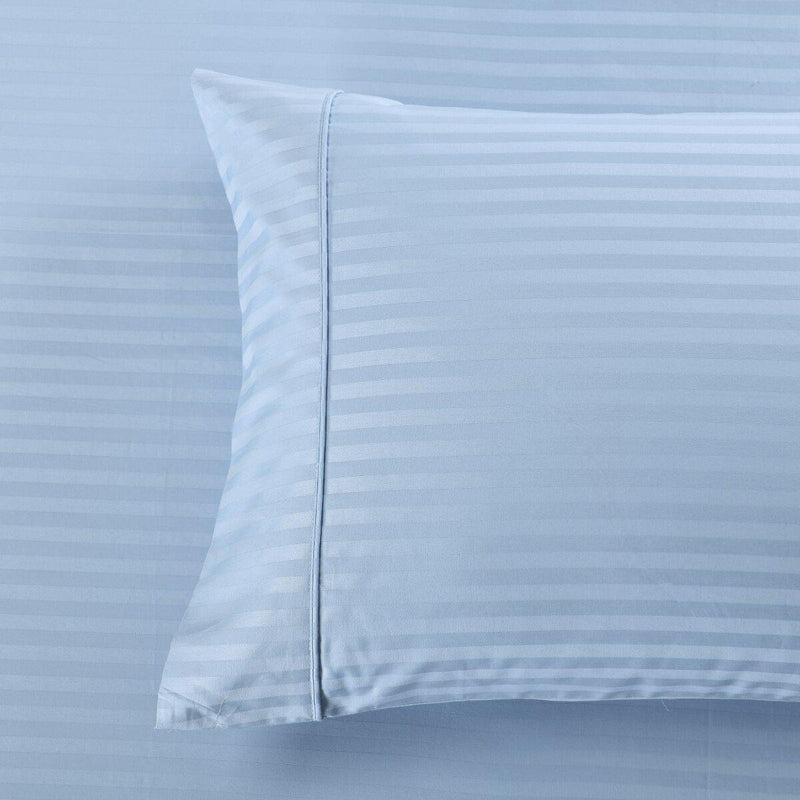 Easy Care 650 Stripe Pillowcases (Pair)-Royal Tradition-King Pillowcases Pair-Blue-Egyptian Linens
