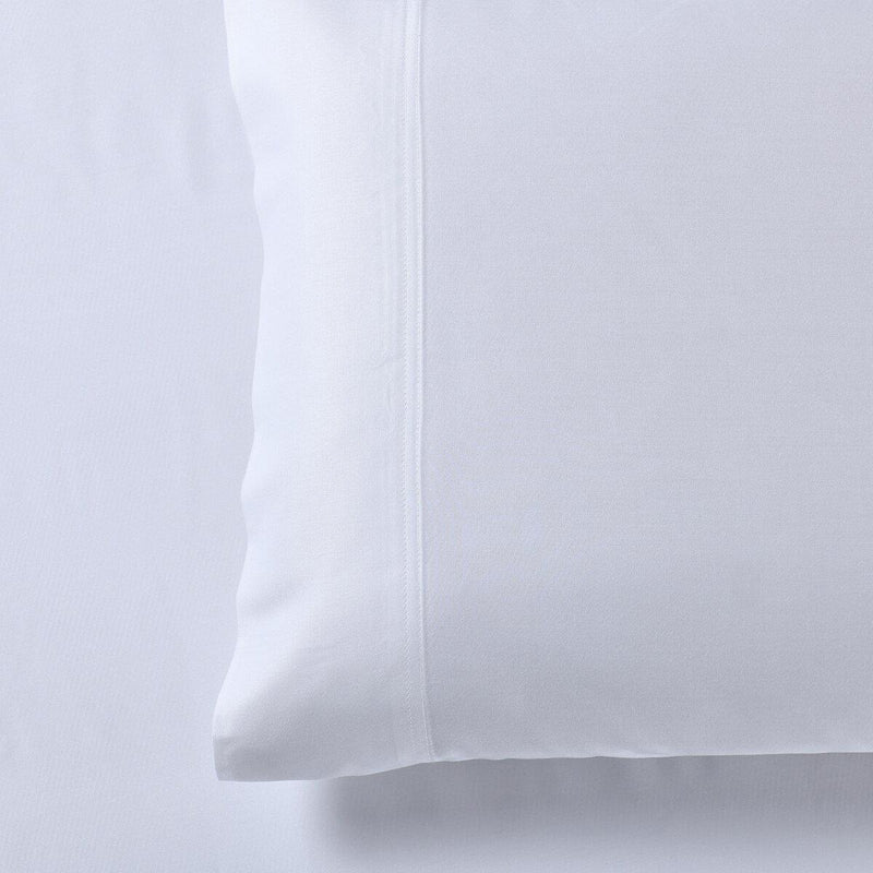 Silky Cotton, Bamboo-Cotton Blended 2 Pillowcases (Hybrid)-Royal Tradition-Standard Pillowcases Pair-White-Egyptian Linens
