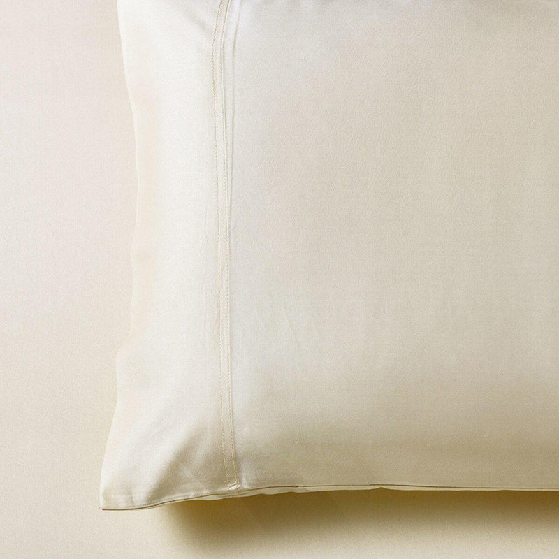 Silky Cotton, Bamboo-Cotton Blended 2 Pillowcases (Hybrid)-Royal Tradition-Standard Pillowcases Pair-Ivory-Egyptian Linens