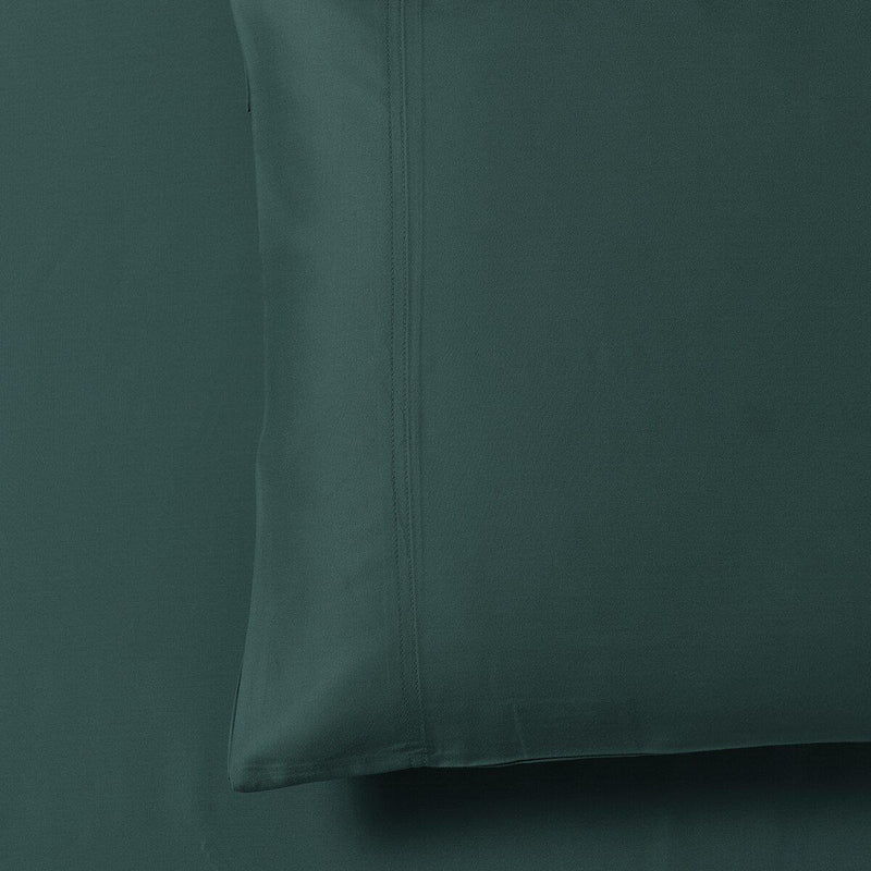 Silky Cotton, Bamboo-Cotton Blended 2 Pillowcases (Hybrid)-Royal Tradition-Standard Pillowcases Pair-Teal-Egyptian Linens