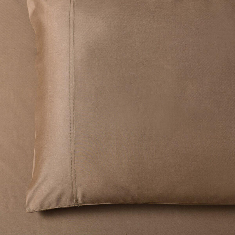 Silky Cotton, Bamboo-Cotton Blended 2 Pillowcases (Hybrid)-Royal Tradition-Standard Pillowcases Pair-Taupe-Egyptian Linens