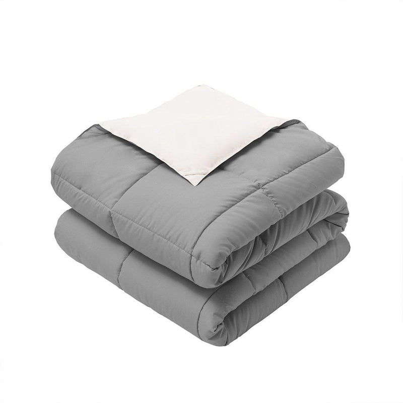 Reversible Plush Down Alternative Blanket-Royal Hotel Bedding-Twin/Twin XL-White/Gray-Egyptian Linens