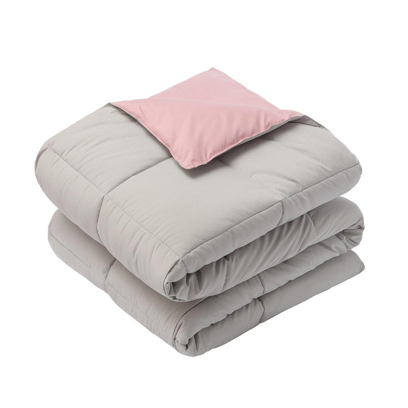 Reversible Plush Down Alternative Blanket-Royal Hotel Bedding-Twin/Twin XL-Blush/Gray-Egyptian Linens