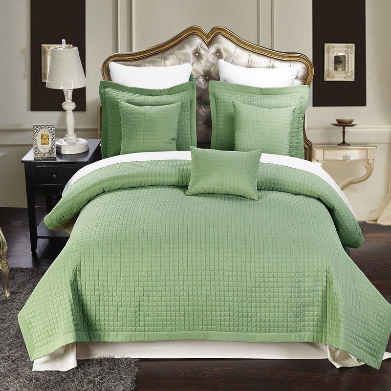 Luxury Checkered Quilted Wrinkle-Free 2-3 Piece Quilted Coverlet Set-Royal Tradition-Twin/Twin XL-Sage-Egyptian Linens