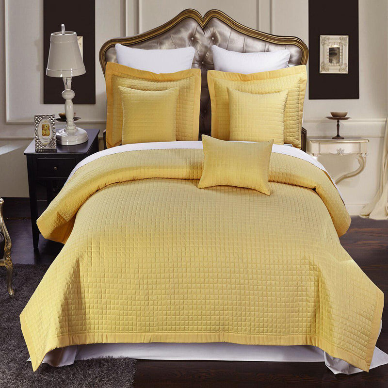 Luxury Checkered Quilted Wrinkle-Free 2-3 Piece Quilted Coverlet Set-Royal Tradition-Twin/Twin XL-Gold-Egyptian Linens