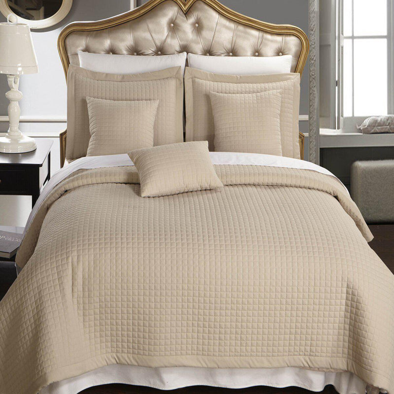 Luxury Checkered Quilted Wrinkle-Free 2-3 Piece Quilted Coverlet Set-Royal Tradition-King/Calking-Linen-Egyptian Linens